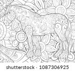 adult coloring book page a cute ... | Shutterstock .eps vector #1087306925