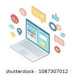 isometric notebook web design... | Shutterstock .eps vector #1087307012