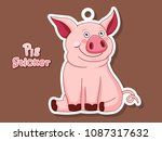 cute pig cartoon sticker.... | Shutterstock .eps vector #1087317632