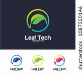 leaf tech logo vector design... | Shutterstock .eps vector #1087320146