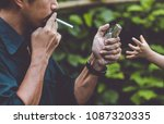 the baby's hand are suppressing ... | Shutterstock . vector #1087320335