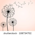 the vector dandelion on a wind... | Shutterstock .eps vector #108734702