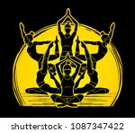 yoga class  group of women... | Shutterstock .eps vector #1087347422