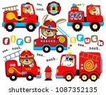 vector set of firefighter... | Shutterstock .eps vector #1087352135