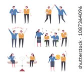 people who show labor unity.... | Shutterstock .eps vector #1087364096