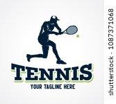 tennis sport silhouette logo...   Shutterstock .eps vector #1087371068