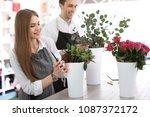 young florists making beautiful ... | Shutterstock . vector #1087372172