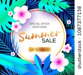 blue tropical summer sale.palm... | Shutterstock .eps vector #1087377158