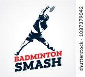badminton smash silhouette logo ...   Shutterstock .eps vector #1087379042