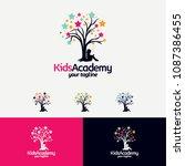 kids learn academy logo designs ...   Shutterstock .eps vector #1087386455