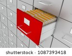 open filing cabinet drawer with ... | Shutterstock . vector #1087393418