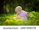 beautiful small baby girl... | Shutterstock . vector #1087398578