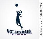 volleyball sport silhouette...   Shutterstock .eps vector #1087405745