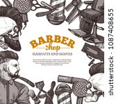 hand drawn vector barber shop...   Shutterstock .eps vector #1087408655