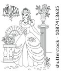 princess coloring page | Shutterstock .eps vector #1087413635