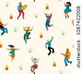 festa junina. vector seamless... | Shutterstock .eps vector #1087422008