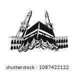 holy kaaba in mecca saudi... | Shutterstock .eps vector #1087422122