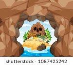 mystery pirate treasure island...   Shutterstock .eps vector #1087425242