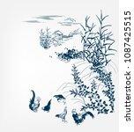 japanese chinese design sketch... | Shutterstock .eps vector #1087425515