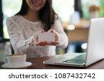 online payment  women hands...   Shutterstock . vector #1087432742
