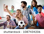 soccer fans emotionally... | Shutterstock . vector #1087434206