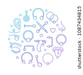 colorful piercing vector round... | Shutterstock .eps vector #1087434815