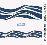 marine seamless pattern with... | Shutterstock .eps vector #1087437566