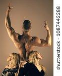 man bodybuilder with muscular... | Shutterstock . vector #1087442288