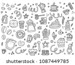 monochrome collection of coffee ...   Shutterstock .eps vector #1087449785