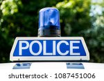 police vehicle sign with blue... | Shutterstock . vector #1087451006