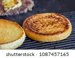toasted burger for a hamburger. ... | Shutterstock . vector #1087457165