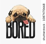 pug dog illustration with... | Shutterstock .eps vector #1087470668