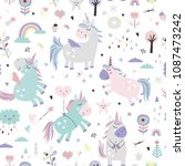 seamless pattern with unicorns. | Shutterstock .eps vector #1087473242