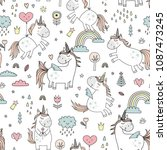 seamless pattern with unicorns. | Shutterstock .eps vector #1087473245