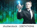 businessman on abstract... | Shutterstock . vector #1087474346