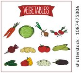 set of isolated vegetables on... | Shutterstock .eps vector #1087475306