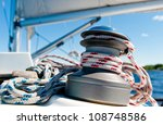 winch with rope on sailing boat | Shutterstock . vector #108748586