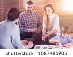 happy family talking with their ...   Shutterstock . vector #1087485905