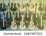 guitar showroom  guitar source... | Shutterstock . vector #1087487222