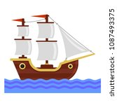cartoon ship with white sails.... | Shutterstock .eps vector #1087493375