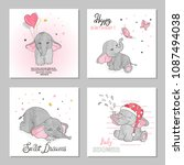 Stock vector cute elephants vector illustrations set of birthday greeting cards posters prints 1087494038