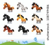 cartoon vector horses isolated... | Shutterstock .eps vector #108749486