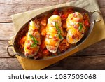 spicy chicken fillet baked with ... | Shutterstock . vector #1087503068