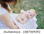 sunbathing baby. child taking a ... | Shutterstock . vector #1087509392