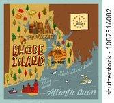 illustrated map of rhode island....   Shutterstock .eps vector #1087516082