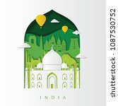 detailed india skyline. travel... | Shutterstock .eps vector #1087530752