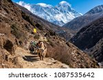 on the way to everest base camp ... | Shutterstock . vector #1087535642