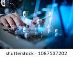 blockchain technology concept... | Shutterstock . vector #1087537202
