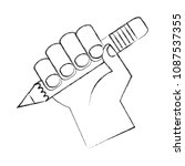 hand with pencil write isolated ... | Shutterstock .eps vector #1087537355