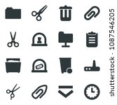 black vector icon set trash bin ... | Shutterstock .eps vector #1087546205